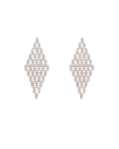 Crystal Silver Tone Solitaire Diamante Teardrop Earrings