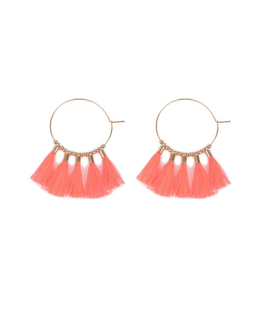 Neon Pink Gold Tone Hoop With Beads And Tassels Earrings