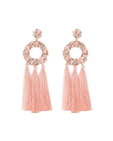 Pink Gold Tone Flower Encrusted Crystal Tassel Earrings