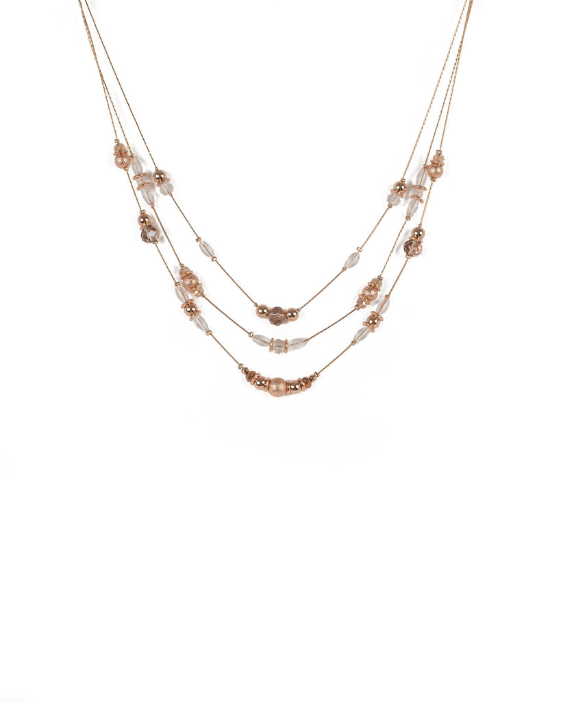 Rose Gold Tone  Metallic Beaded Long Strand Necklace
