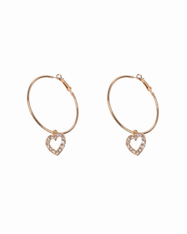Crystal Gold Tone Hoop Earrings With Diamante Heart Charms