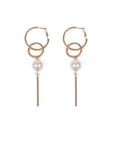 Ivory Gold Tone Circles Pearl And Bar Drop Earrings