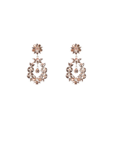 Rose Gold Silver Tone Petal Stone Earrings