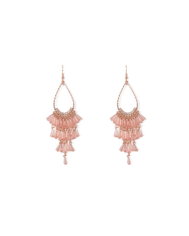 Pink Rose Gold Tone Beaded Tassel Tear Drop Earrings