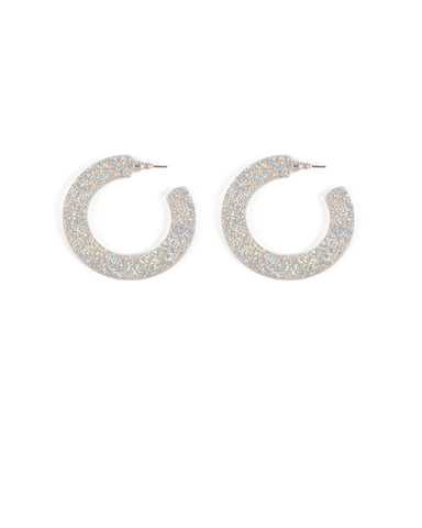 Silver Tone Acrylic Sparkle Hoop Earrings
