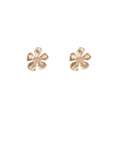 Gold Tone Solid Flower With Embellished Crystal Earrings