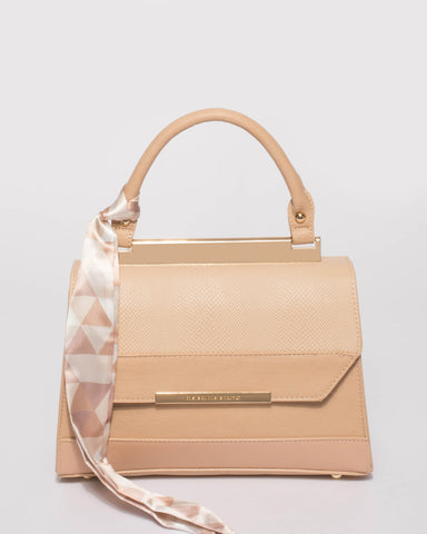 Natural Renee Top Handle Mini Bag With Gold Hardware
