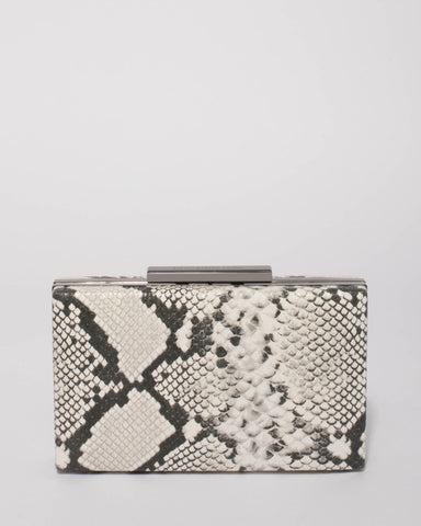 Monochrome Python Jaimi Clutch Bag