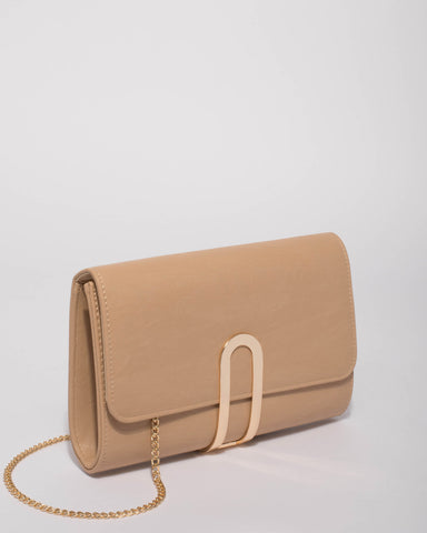 Beige Shal Hardware Clutch Bag