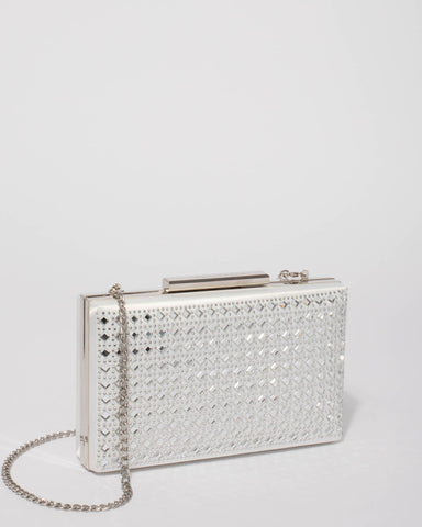White Bridal Crystal Clutch Bag