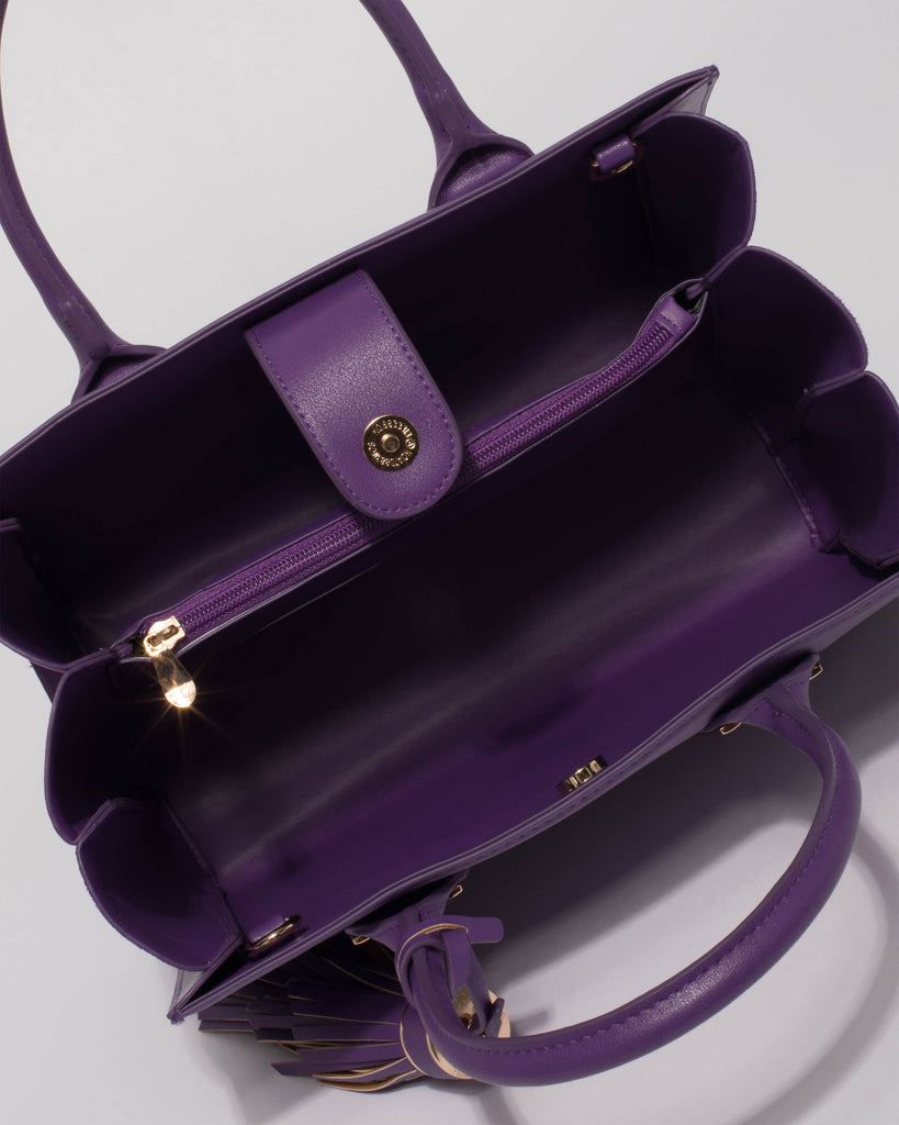 Purple Mila Large Multi Tote Bag With Gold Hardware