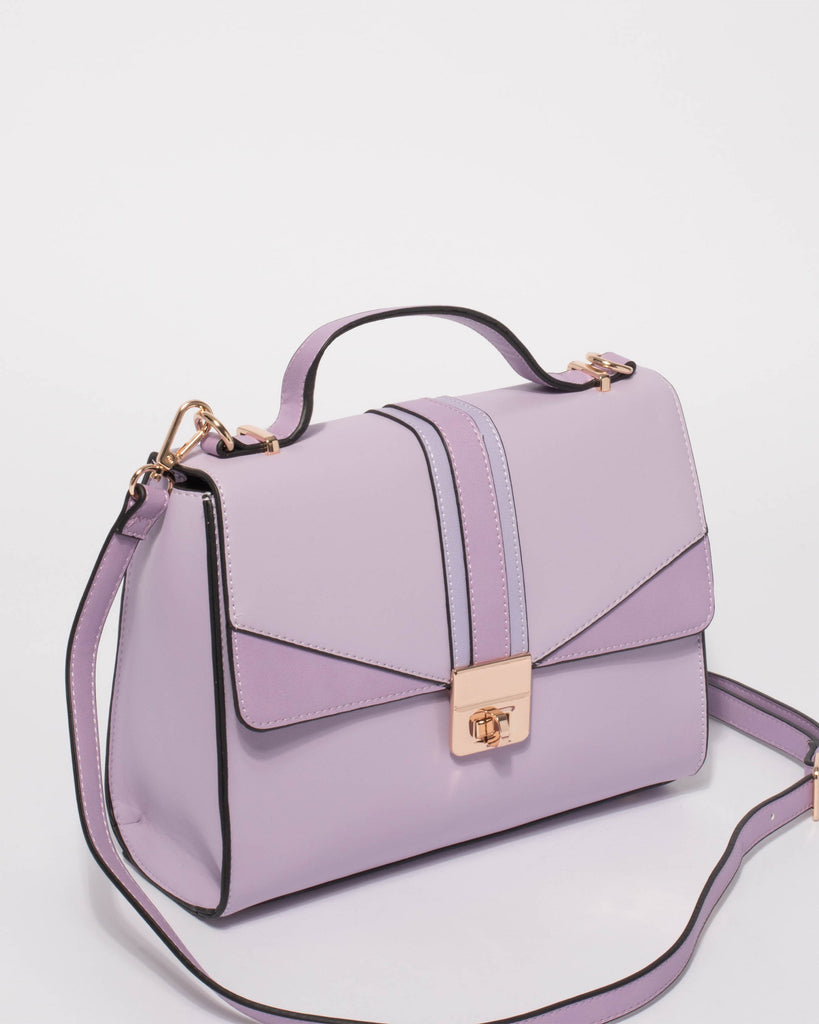 Purple Stella Top Handle Tote Bag