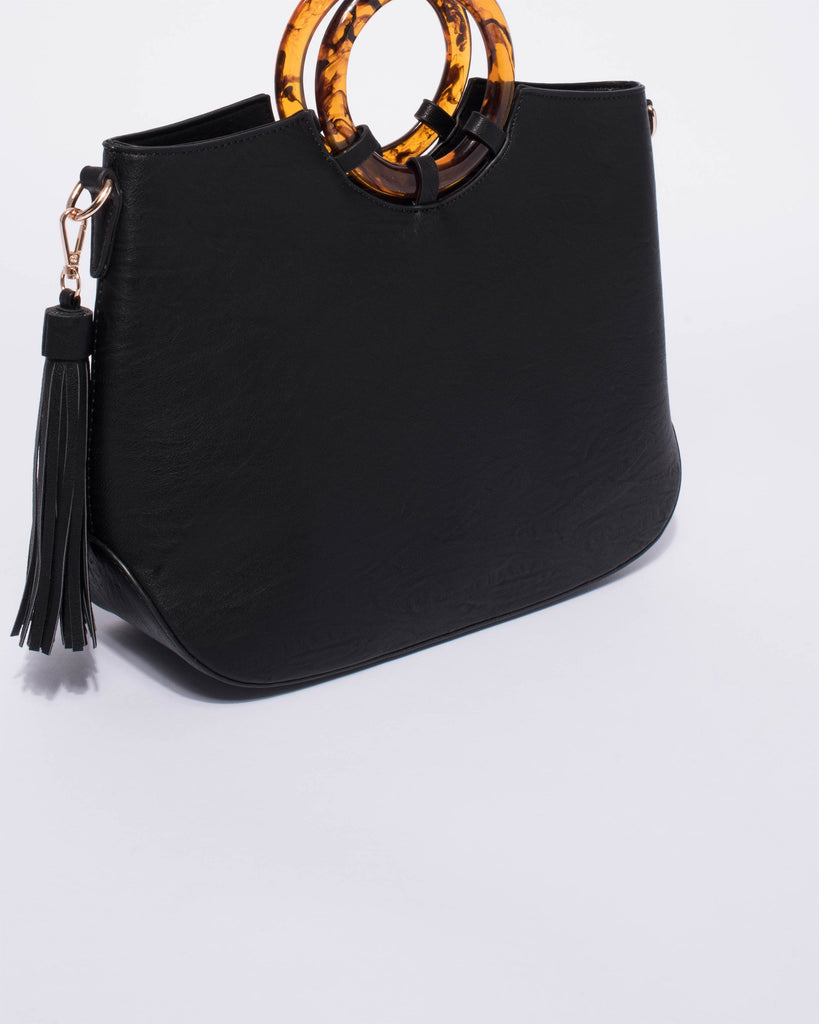 Black Gwen Circle Handle Tote Bag