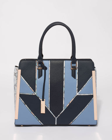 Black Blue Harper Large Tote Bag