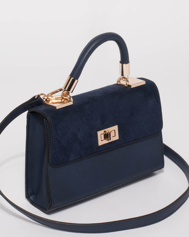 Navy Aya Top Handle Mini Bag
