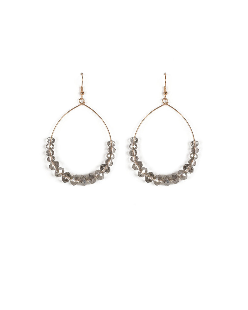 Grey Gold Tone Tear Drop Earrings With Crystals