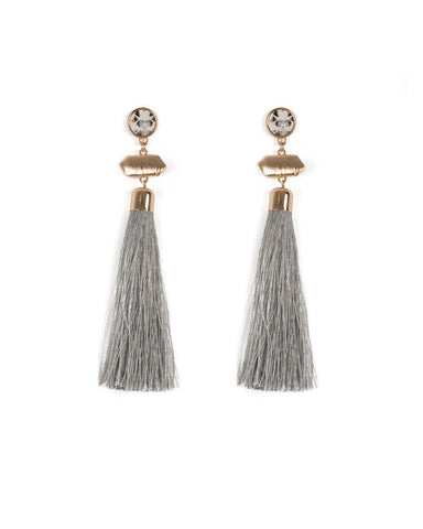 Grey Gold Tone Python Tassel Statement Earrings