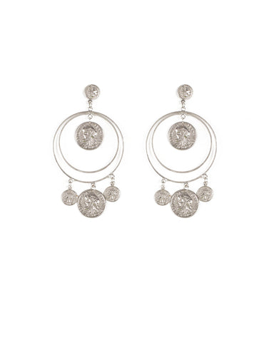 Silver Tone Double Fine Hoop Earrings With Coin Charms