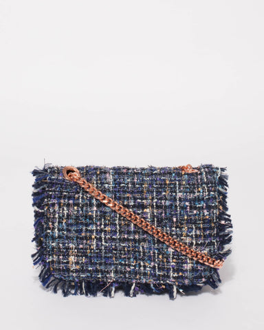 Blue Tweed Olivia Crossbody Bag