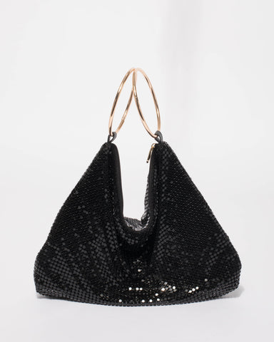 Black Paris Ring Slouch Bag