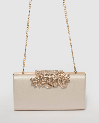 Ivory Floral Clip Clutch Bag