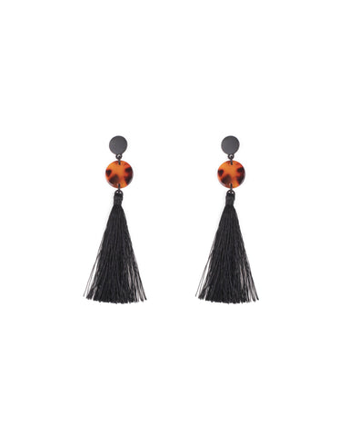 Black Gunmetal Tone Double Disk Drop Tassel Earrings