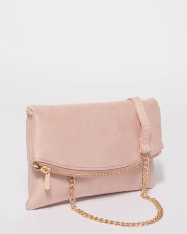 Pink Zoe Fold Over Clutch Bag