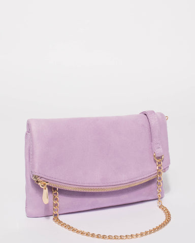 Purple Zoe Fold Over Clutch Bag