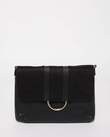 Black Courtney Ring Crossbody Bag