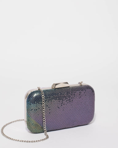 Purple Chainmail Hardcase Clutch Bag