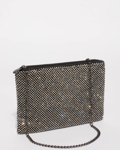Black Chainmail Peta Crossbody Bag With Gunmetal Hardware