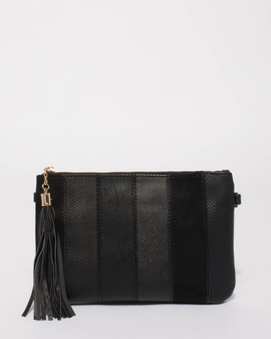 Black Multi Panel Crossbody Bag