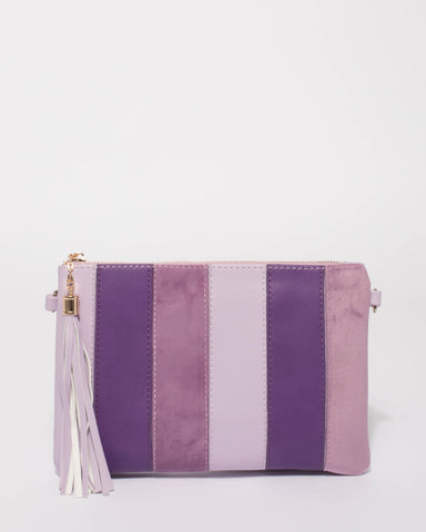 Purple Multi Panel Crossbody Bag