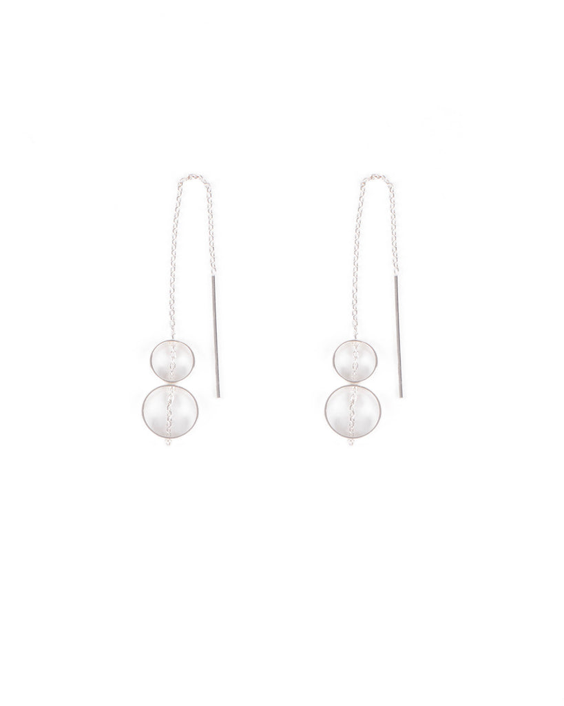 Silver Tone Long Fine Third Double Circle Earrings