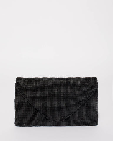 Black Natalia Envelope Clutch Bag