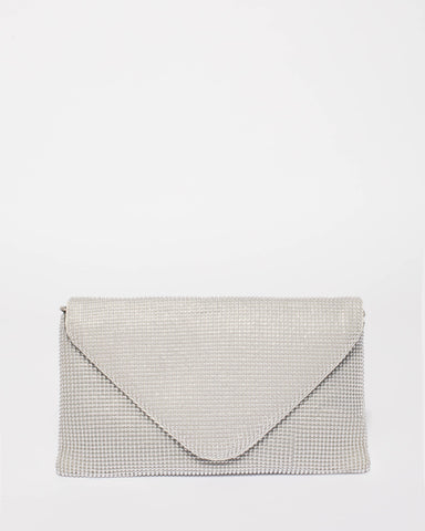 Silver Natalia Envelope Clutch Bag