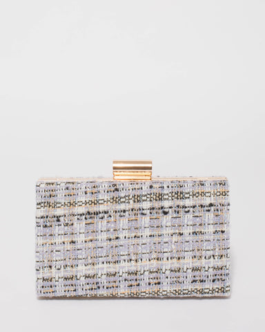 Multi Colour Tweed Sally Hardcase Clutch Bag