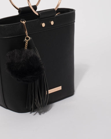 Black Sabrina Ring Hardware Tote Bag