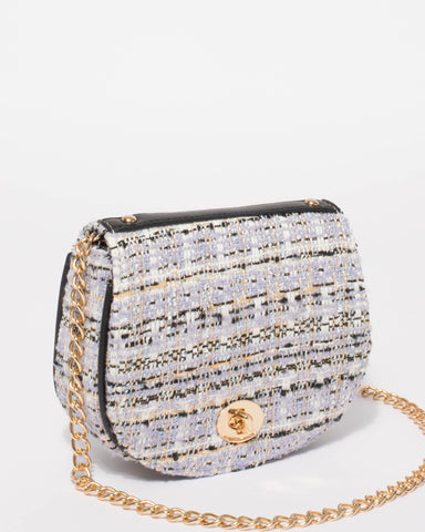 Multi Colour Tweed Kylie Saddle Crossbody Bag