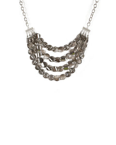 Grey Silver Tone Beaded Multi Layer Necklace