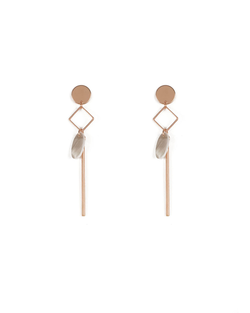 Grey Rose Gold Tone Drop Metal And Acrylic Earrings