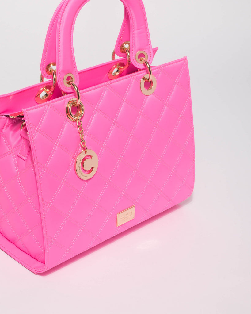 Neon Pink Ella Quilt With Charm Tote Bag