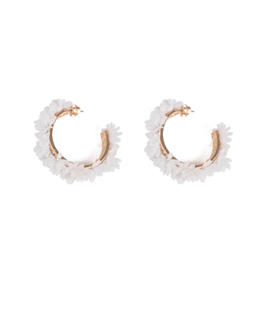 White Gold Tone Fluffy Floral Hoop Earrings