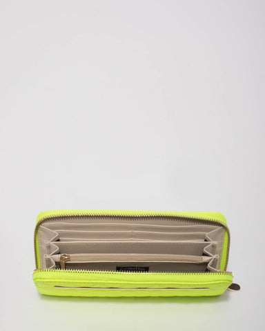 Neon Yellow Nina Quilt Wallet