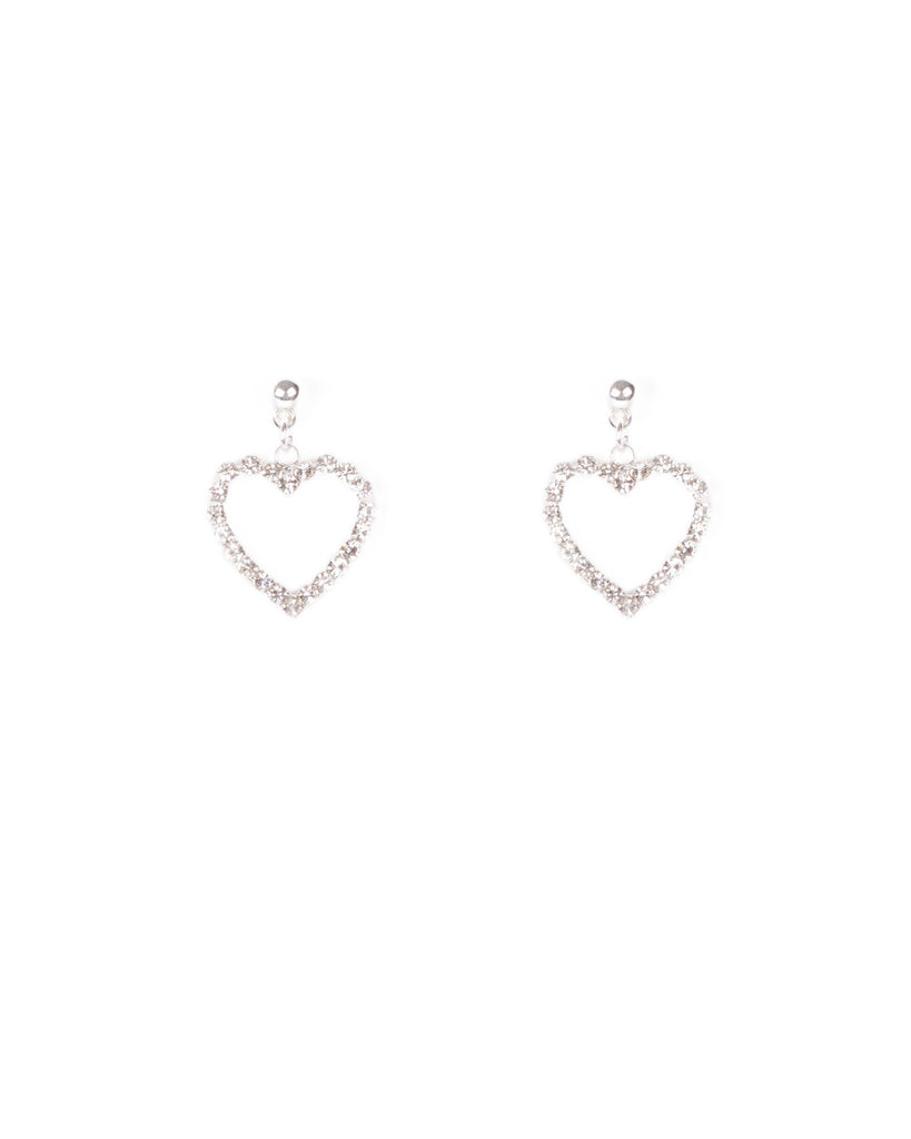 Crystal Silver Tone Heart Outlined Diamante Stud Earrings