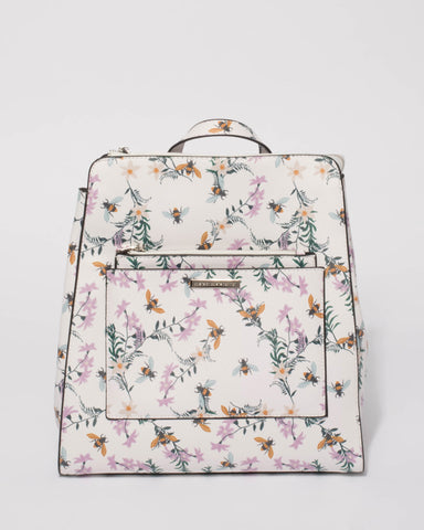 White Floral Spencer Backpack
