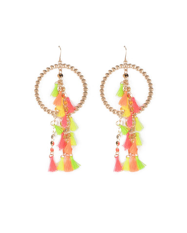 Multi Colour Gold Tone Mini Tassel Drop Earrings With Hoop