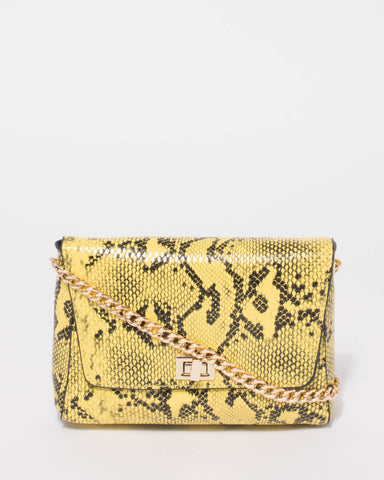 Yellow Python Nicole Small Chain Crossbody Bag