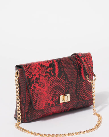 Red Python Nicole Small Chain Crossbody Bag