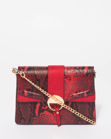 Red Python Yasmin Panel Crossbody Bag